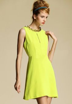 Morpheus Boutique  - Lime Green Round Neck Sleeveless Celebrity Dress