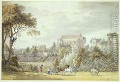 King Johns Palace, Eltham - Retrieving a Kite, 1788  By Paul Sandby