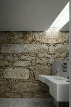 stone wall in bathroom