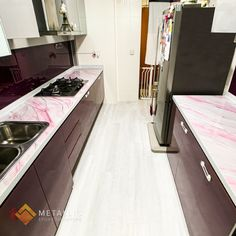 Metallic Epoxy Countertop Epoxy Countertop, Countertops, Black And Gold Marble, Pink Highlights, Epoxy Coating, Business Design, Metallic, Design Ideas, Flooring