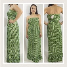 """Selling this """"LISTING Lime Aztec Print Strapless Maxi"""" in my Poshmark closet! My username is: allaboutmeposh. #shopmycloset #poshmark #fashion #shopping #style #forsale #Boutique #Dresses & Skirts"""