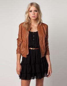 Bershka Tan Leather Jacket