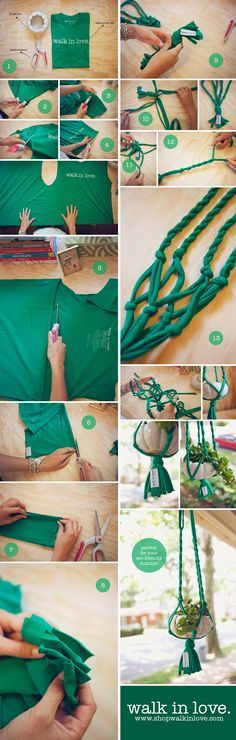 """make a plant hanger from a t-shirt """"DIY T-shirt plant hanger. See full instructions here…"""", macrame diy plant hanger tutorials hanging pots - Savvy W Hanging Pots, Diy Hanging, Hanging Baskets, Macrame Plant Hangers, Macrame Plant Holder, Macrame Projects, Macrame Knots, T Shirt Diy, Crafty Craft"""