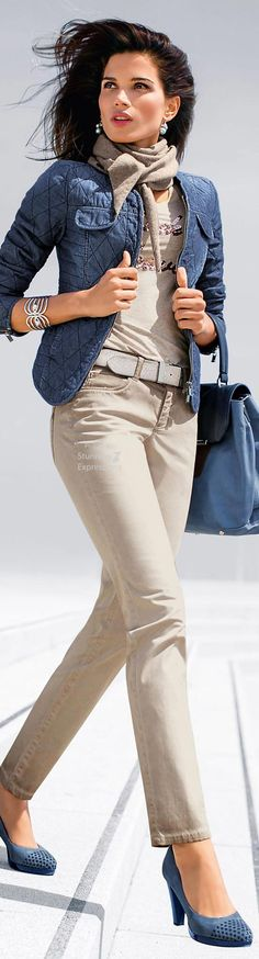 This quilted jean jacket is awesome, Blue Trousers Outfit, Trouser Outfits, Fall Fashion 2016, Womens Fashion, Fashion Trends, Fashion Over 50, Fashion Looks, Classy Outfits, Casual Outfits