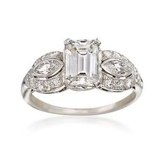 C. 1935 Vintage 1.78 ct. t.w. Certified Diamond Engagement Ring in Platinum. Size 6
