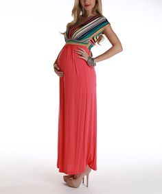 Pink Stripe Maternity Maxi Dress