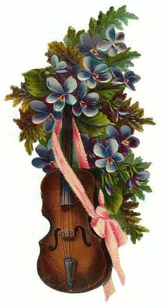 Violin with violets.
