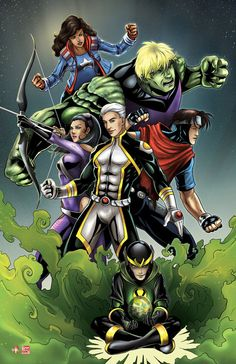 Young Avengers Assemble! Captain America's daughter Hulks son, Hawkeye's daughter, And Loki's son. But who do the other 2 represent?