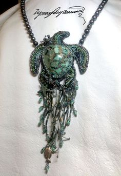 """""""Turtle Cay"""" necklace by Lynn Parpard on Etsy. Bead embroidery, fringe, and a perfect Candelaria turquoise cabochon."""
