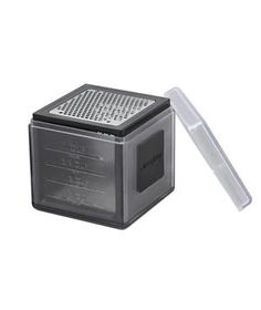 Microplane Cube Grater This sturdy box has three different razor-sharp blades. A protective cover keeps hands out of harm's way, and doubles as a measuring cup for your carrot, cheese, or chocolate shreds.