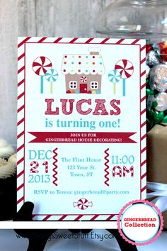 Gingerbread House Birthday Invitation Red DIY by StacysSweetStuff