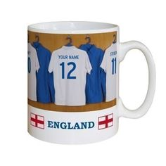 The Personalised England Dressing Room Mug features your chosen name on the back of an England shirt alongside players' shirts from the England men's side. #England #Football  £10.99