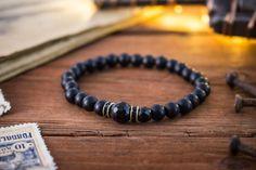 6mm  Matte black onyx beaded stretchy bracelet natural made