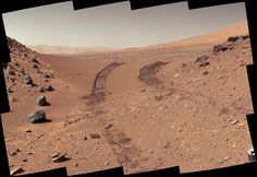 This look back at a dune that NASA's Curiosity Mars rover drove across was taken…