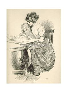 Gibson Girl and Child Rare Signed 1909 by ForgottenPapers on Etsy