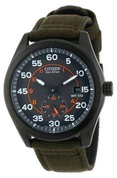Citizen Men's BV1085-22H Eco-Drive Green Nylon Strap Watch: Watches: Amazon.com