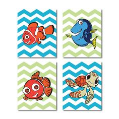 Nemo Nursery Wall Art Quad  Set of four on by SusanNewberryDesigns, $55.00