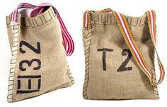 DIY Simple, yet stylish bag: ~~  Using Burlap, Stencils, Fabric Paint and Webbing