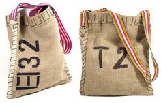 DIY Simple, yet stylish bag: ~~  Using Burlap, Stencils, Fabric Paint and Webbing