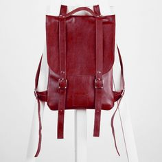 SALE / Сherry colored leather backpack rucksack / In stock /