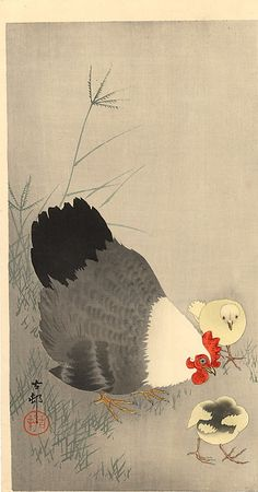 Hen and two chicks in grass - Ohara Koson, 1927