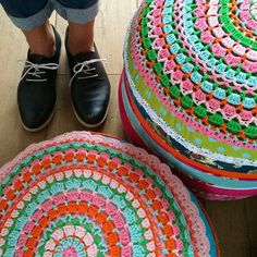 giant crocket doily or cushion cover.  Love the scandinavian colour combos!