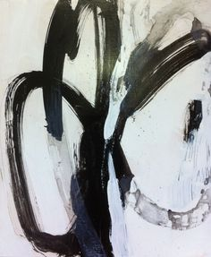 Black and White Painting Expressive Abstract Art 19.5 x23.5 inches by Robyn Muller by RobynMullerArt on Etsy