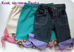 Knot No-Hem capri pants tutorial. I think I'd use this tute' to add length to pants that are getting too short.
