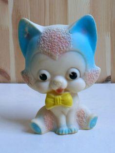 Vintage Cat Rubber Toy