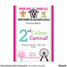 Fun & Games Girl's Carnival Party Invitation   Zazzle