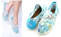 Cheap Toms Shoes Women Wool Fabric Blue Multi : toms outlet, your description$17
