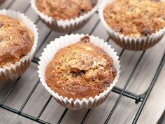 These muffins are packed full of oatmeal, bananas, almond milk and ground flax seed. A tasty, healthy snack.
