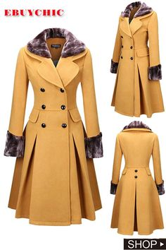 This woolen coat is tailored with double breast and faux fur collar. D you may wear this big swing coat for casual life. Te and other occa Trench Coat Outfit, Coat Dress, Long Winter Coats, Winter Coats Women, Casual Coats For Women, Mode Mantel, Cute Coats, Langer Mantel, Stylish Coat