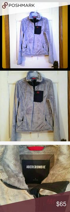 A&F pullover jacket Worn once. Excellent like new shape! Size small. It's super duper warm and cozy! Pullover style. Grey and Navy in color. Abercrombie & Fitch Jackets & Coats
