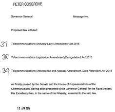Telecommunications (Interception and Access) Amendment (Data Retention) Act 2015 received Royal Assent today #auspol pic.twitter.com/31MqdiHq0c Tony Abbott, House Of Representatives, Proposal, Acting, Icons, Messages, Shit Happens, Twitter, Ikon