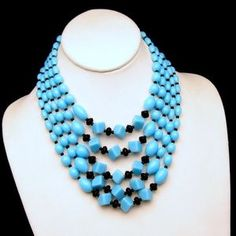 1960's MAD MEN READY JAPAN GLASS BEADS! Striking 5 strand glass beads necklace in beautiful aqua and black color scheme - I love it!