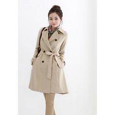 170ac51dc7f Elegant Slimming Lapel Solid Color and Pocket Design Cotton Blended Coat  For Women