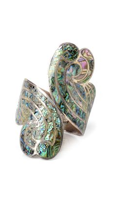 Antique Mexican silver and abalone cuff.