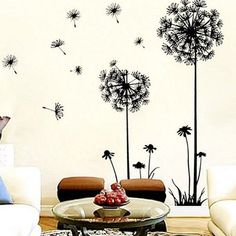 A fantasy themed living room embellished by the wonderful dandelion wall art sticker made by removable mural PVC.
