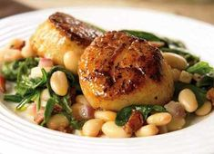 Seared Scallops with White Beans and Spinach- Quick Healthy Dinners from Women's Health (made this last night but substituted spot bass for the scallops. It was so good!)