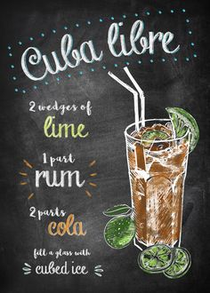 Displate Poster Cuba Libre cuba See amazing artworks of Displate artists printed on metal. Easy mounting, no power tools needed. Rum Cocktails, Bar Drinks, Cocktail Drinks, Yummy Drinks, Cocktail Recipes, Alcoholic Drinks, Beverages, Popular Cocktails, Cuba Libre Drink