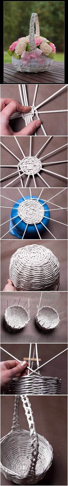 DIY Newspaper Tubes Weaving Basket 2