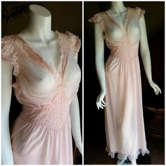 1940's Romantic Pastel Pink Sheer Nightgown, Sexy Vintage Negligee, Sheer Lace Lingerie, Boudoir Gown, Mermaid Pleated Nightdress