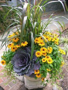 22 Beautiful Fall Planters for Easy Outdoor Fall Decorations 22 gorgeous fall planters for Thanksgiving & fall decorations: best fall flowers for pots, & great autumn planter ideas with mums, pumpkins, kale, & more! - A Piece of Rainbow Fall Flower Pots, Fall Flowers, Flowers Garden, Potted Flowers, Simple Flowers, Garden Trees, Succulents Garden, Pretty Flowers, Container Flowers