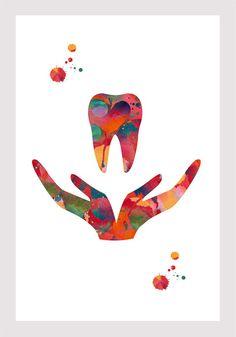Dental Care Symbol Watercolor Print Dentist Clinic Wall Art Print Anatomy Art Poster Stomatology Print Teeth Illustration Orthodontics – Top Of The World Dentist Art, Dentist Clinic, Dental Logo, Dental Care, Dental Teeth, Dental Implants, Dental Phobia, Dental Wallpaper, Emergency Dentist