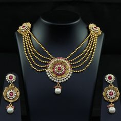 Bollywood Style Gold tone Beads and Pearl Jewelry