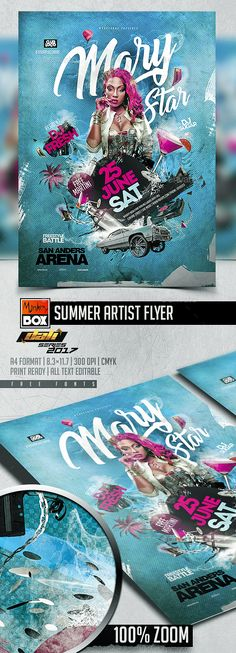 Summer Artist Flyer Template PSD