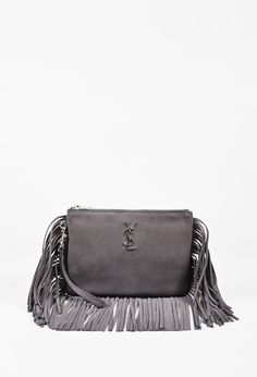 Saint Laurent Grey Suede Monogrammed Fringed Wristlet Clutch 83e5ab0476246