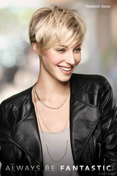 """Pixie Perfect."" Ask your stylist for a layered pixie cut with longer bangs. #FantasticSams #ShortHairstyles #Hair #AlwaysBeFantastic #Salon #Pixie #Blonde"