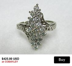 14K White Gold Diamond Cluster Ring Vintage Retro